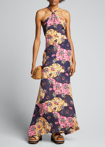 Isla Printed Halter Maxi Dress