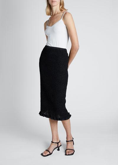 Smocked Midi Skirt with Ruffle Hem