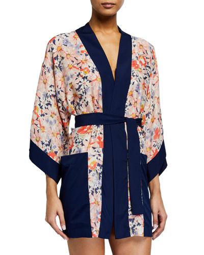 Kyoto Floral-Print Kimono Coverup