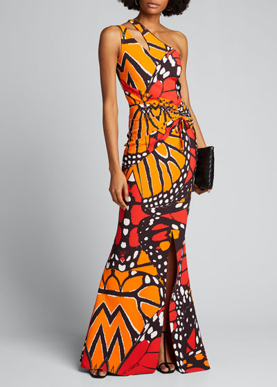 Butterfly Print Keyhole One-Shoulder Gown