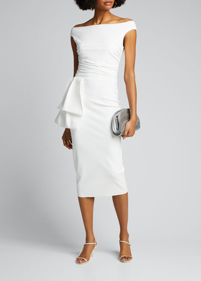 Off-the-Shoulder Jersey Dress with Flap-Waist Detail