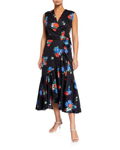 Floral-Print Sleeveless Flounce Wrap Dress