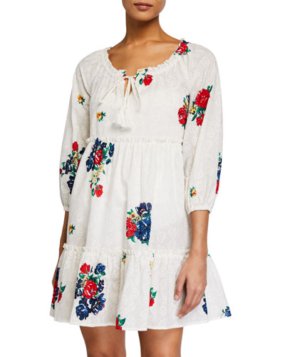 Embroidered Floral Beach Coverup Dress