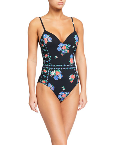 Printed Underwire One-Piece Swimsuit