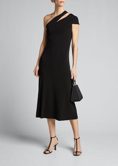 One-Shoulder Slit Midi Dress