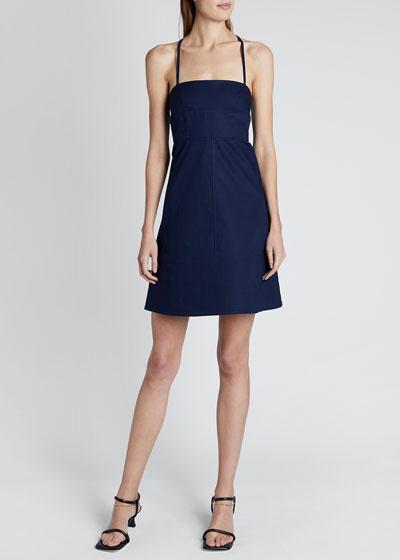 Square-neck Cotton Short Dress