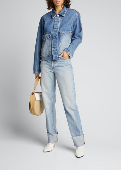 Berit Relaxed Straight Wide-Cuff Jeans