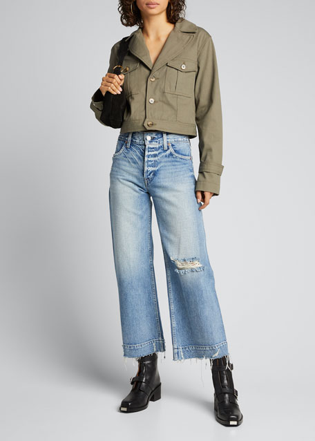 Image 1 of 1: Audrey Cropped Wide-Leg Jeans