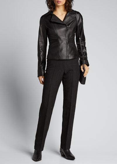 Kelsea Stitched Leather Moto Jacket