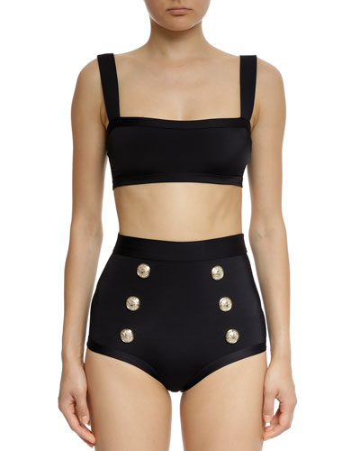 Square-Neck High-Waist Two-Piece Swim Set w/ Buttons