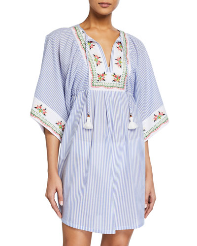 Embroidered Beach Tunic Coverup