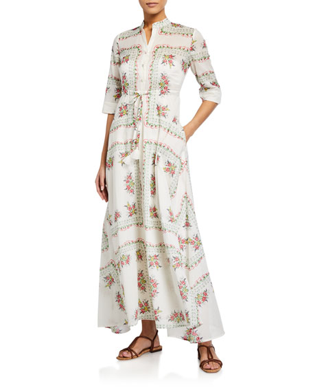 Image 1 of 1: Printed 3/4-Sleeve Long Shirt Dress