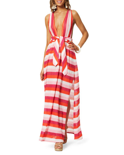 Roma Striped Plunging Coverup Dress