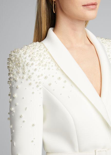Embellished Long-Sleeve Scuba Coat Dress