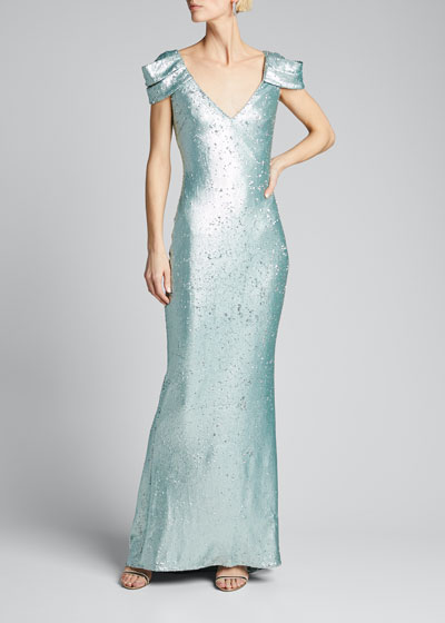 Sequined Draped-Sleeve Gown