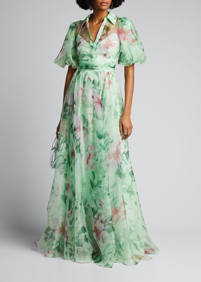 Hibiscus Printed Organza Puff-Sleeve Gown