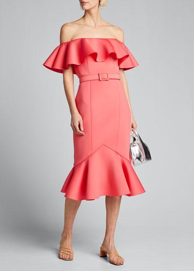 Off-the-Shoulder Scuba Ruffle Dress