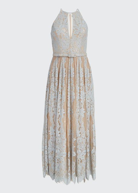 Sequin Lace Racer Halter Dress
