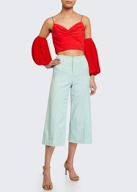 Image 1 of 1: Dylan Clean High-Waist Wide-Leg Crop Pants