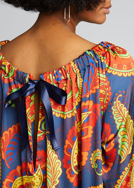 Off-The-Shoulder Paisley Printed Caftan Dress
