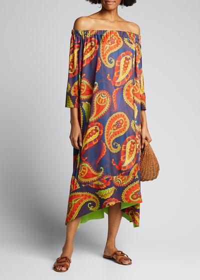 Off-The-Shoulder Paisley Printed Caftan Dress