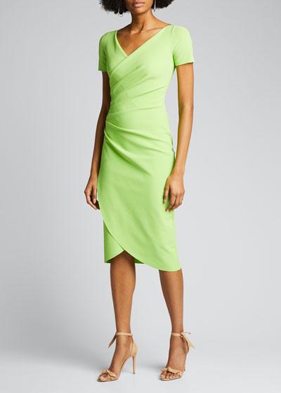 V-Neck Short-Sleeve Wrap-Front Dress
