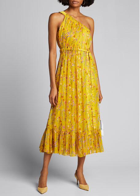 Image 1 of 1: Teodora Gathered One-Shoulder Floral Midi Dress
