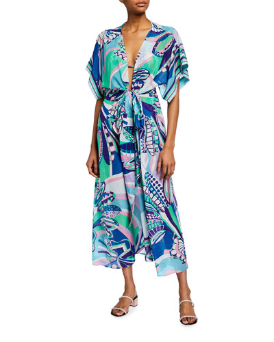 Printed Elbow-Sleeve Belted Maxi Dress