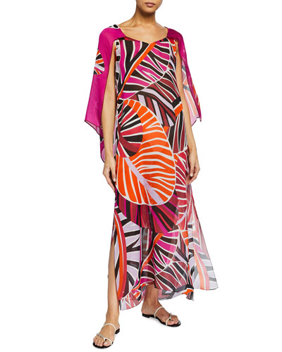 Long Split-Sleeve Leaf-Print Coverup Dress