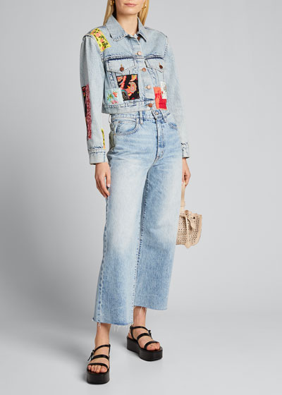 Cropped Boxy Jacket with Patchwork