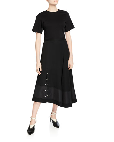 Short-Sleeve Flared T-Shirt Dress with Snaps