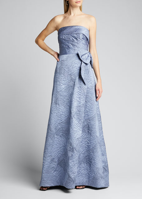Textured Strapless Cuff Side-Draped Gown w/ Bow