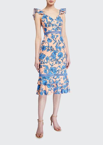 Jade Ruffle-Strap Floral Midi Dress