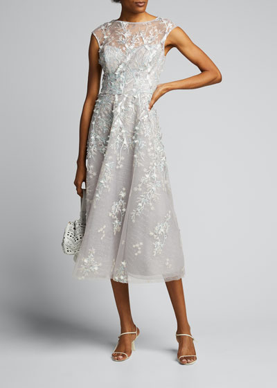 3D Embroidered Midi Tulle Dress