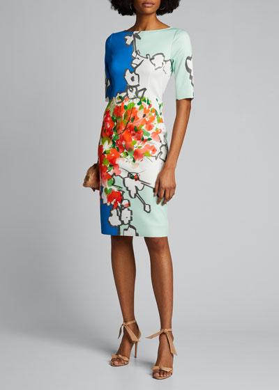Abstract Print Scuba Sheath Dress