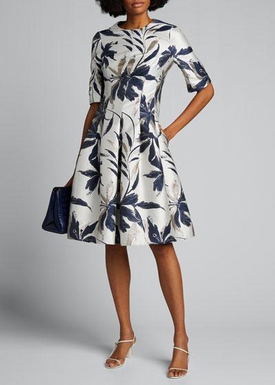 Leaf-Print Jacquard Cocktail Dress
