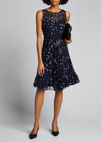 Polka Dot Pintuck Chiffon Sleeveless Dress