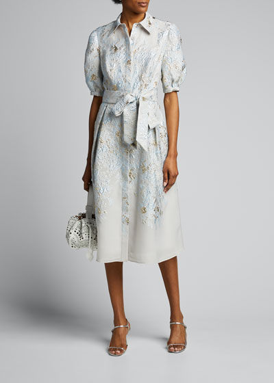 Puff-Sleeve Jacquard Shirt Dress