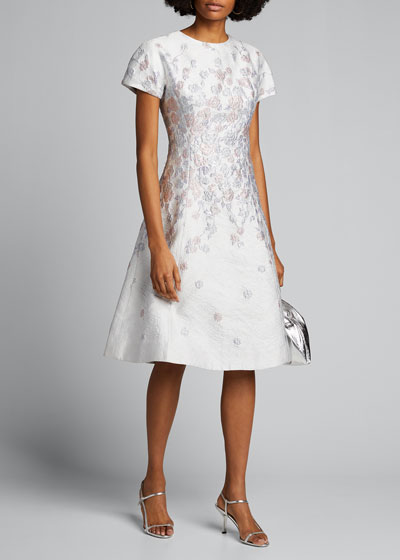 Cap-Sleeve Jacquard Fit-&-Flare Dress