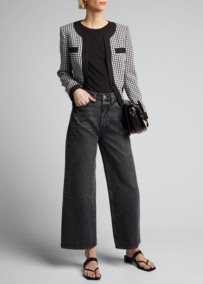 Aimee Cavalry Twill Check Cropped Jacket