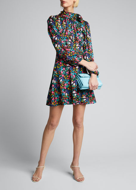 Image 1 of 1: Adele Garden Floral Print Tie-Neck Stretch Silk Dress