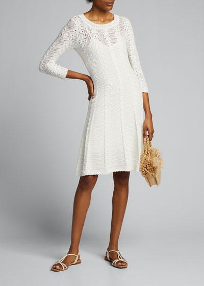Vertical Open-Stitch A-Line Dress