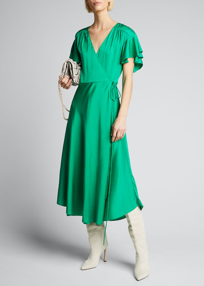 Baker Stretch Silk Midi Wrap Dress