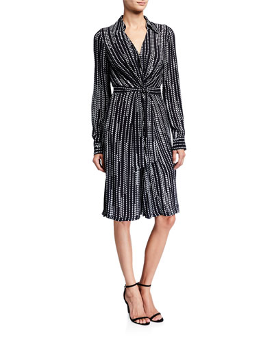 Saxon Geometric Stripe Long-Sleeve Belted Wrap Dress
