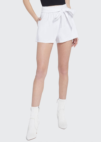 Belted Linen Paperbag Shorts
