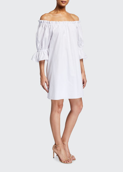 Paola Off-the-Shoulder Trumpet-Sleeve Dress