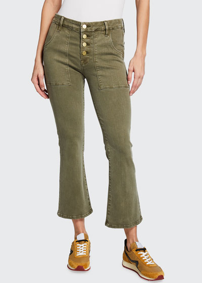 Le Crop Flare Francoise Exposed Button Jeans