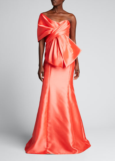 Wrap Top Trumpet Gown with Bow Detail
