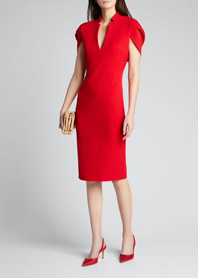 V-Neck Cape Cocktail Dress