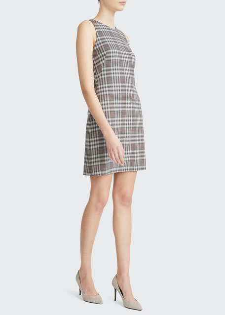Image 1 of 1: Sleeveless Check Good Wool Dress